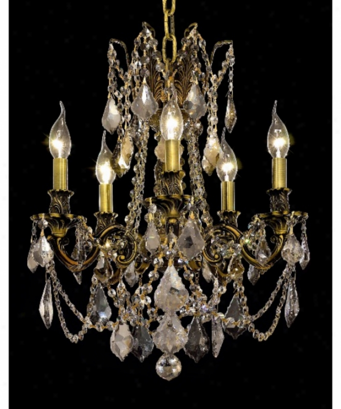 Elegant Lighting 9205d18ab-gt-rc Rosalia 5 Light Mini Chandelier In Antique Bronze With Golden Teak (smoky) Royal Cut Crystal