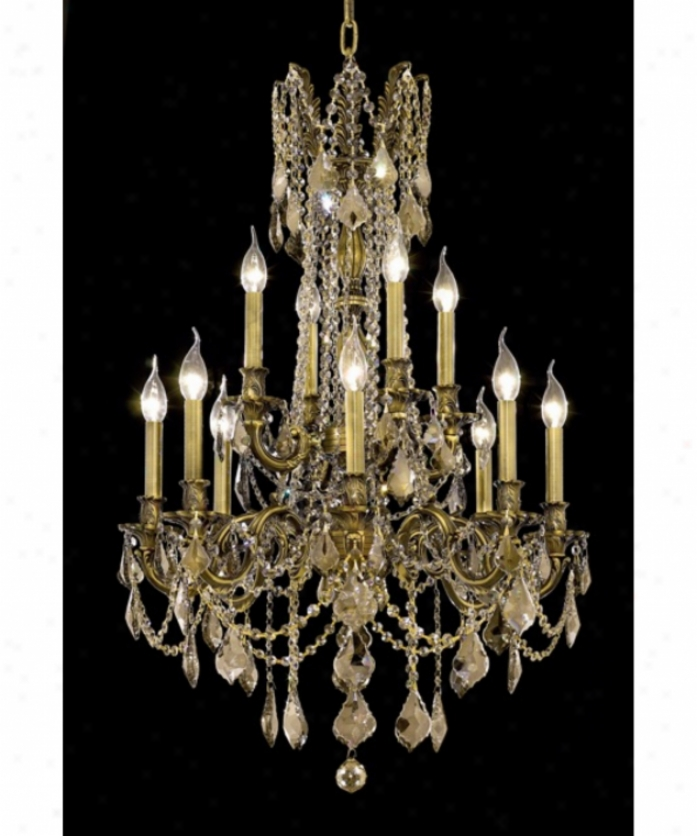 Elegant Lighting 9212d24ab-gt-rc Rosalia 12 Light Two Tier Chabdelier I Antique Brass With Golden Teak (smoky) Royal Cut Crystal