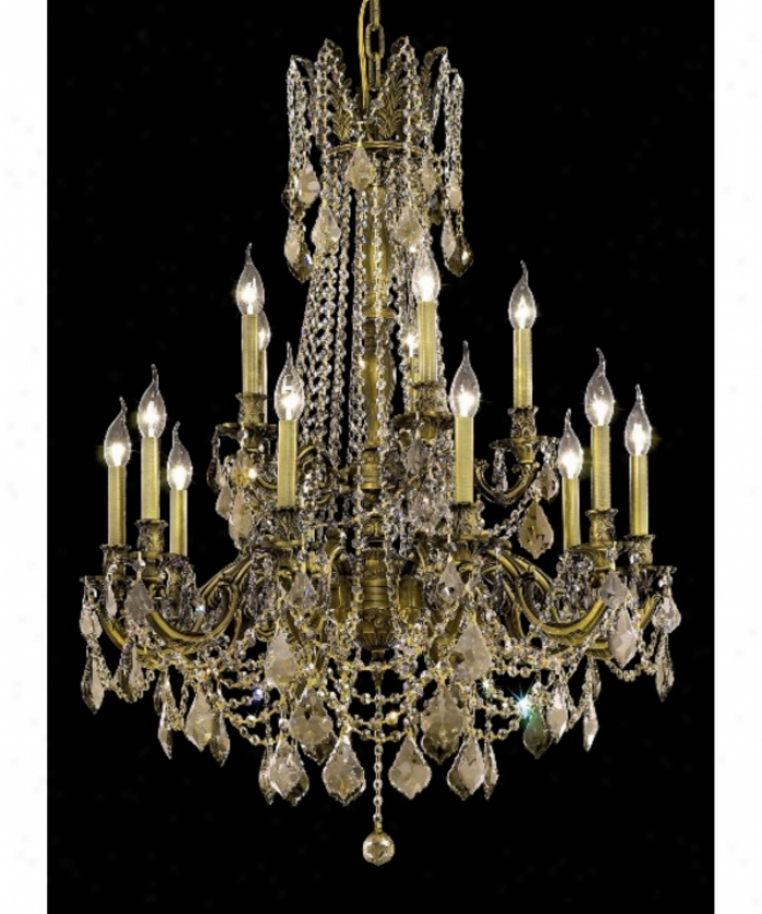 Elegant Lighting 9215d28ab-gt-rc Rosalia 15 Frivolous Two Tier Chandelier In Antique Brass With Goldeen Teak (smoky) Royal Cut Crystal