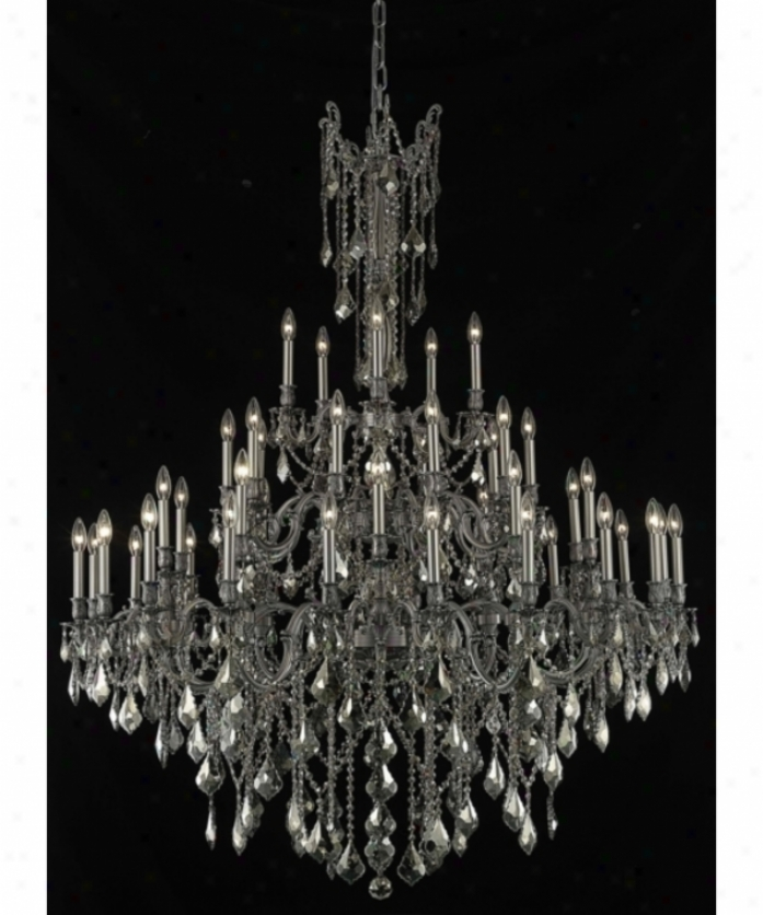 Elegant Lighting 9245g54pw-gt-rc Rosalia 45 Light Large Foyer Chandelier In Pewter With Golden Teak (smoky) Roayl Cut Crystal