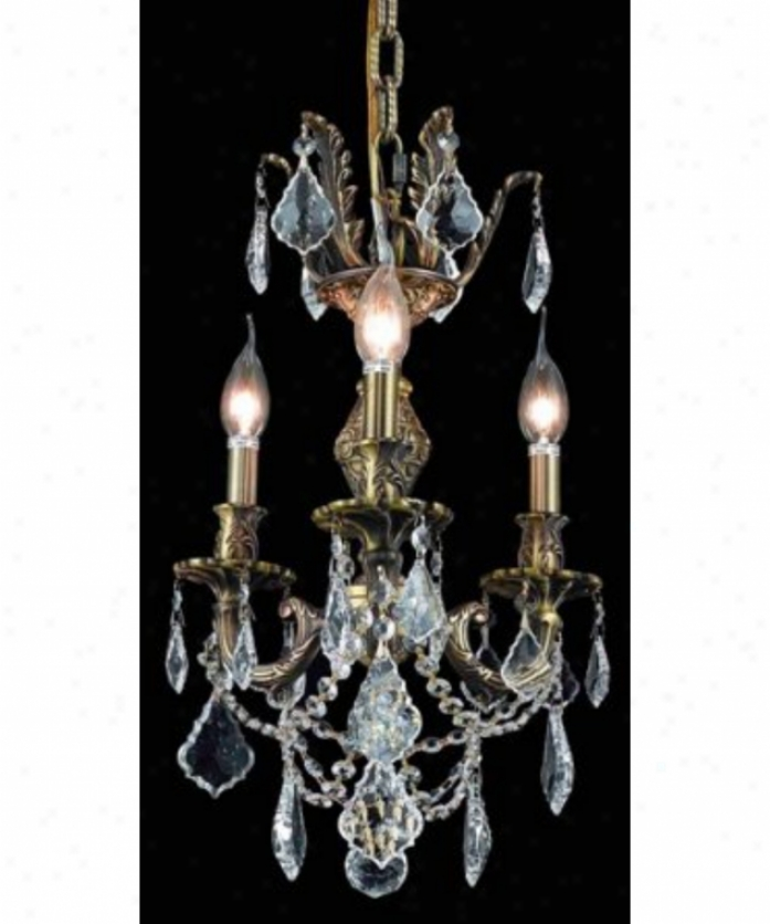 Elegant Lighting 9503d13ab-gs-ss Marseille 3 Light Mini Chandelier In Ancient rarity Bronze With Golden Syadow (champagne) Strass Ssarovski Crystal