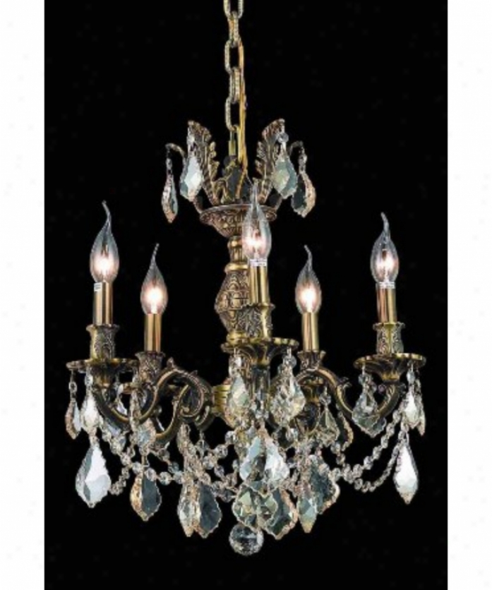 Elegant Lighting 9505d18aab-gs-rc Marseille 5 Light Mini Chandelier In Antique Bronze Witn Golden Shadow (champagne) Noble Cut Crystal