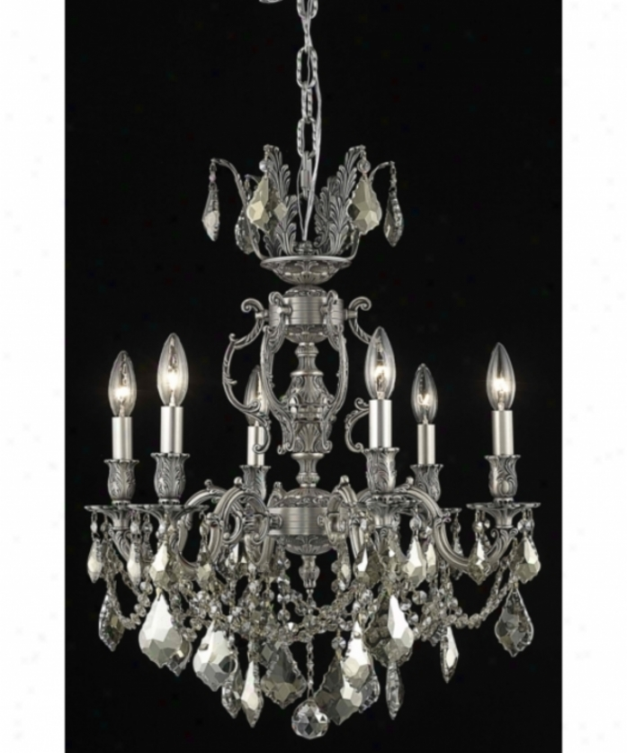 Elegant Lighting 9506d20pw-gt-rc Marseille 6 Light Mini Chandelier I Pewter With Delightful Teak (smoky) Royal Cut Crystal