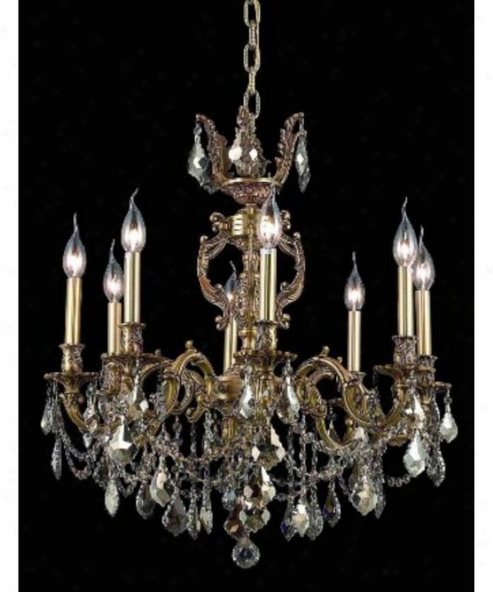 Elegant Lighting 9508d24fg-gt-rc Marseille 8 Light Single Tier Chandelier In French Gold With Auspicious Teak (smoky) Royal Cut Crystal