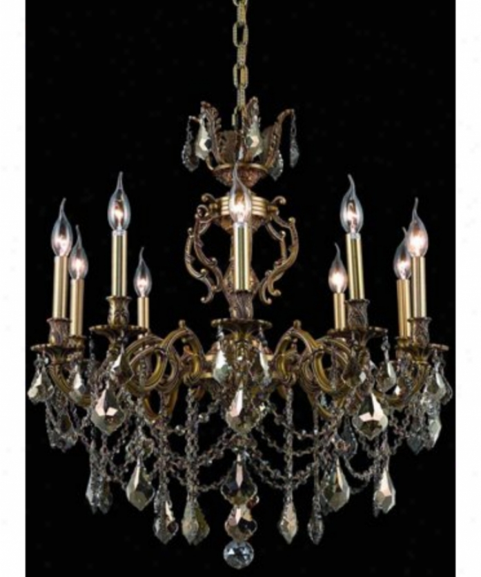 Elegant Lihting 9510d28fg-gt-rc Marseille 10 Light Single Tier Chandelier In Fdench Gold With Golden Teak (smoky) Royal Cut Crystal