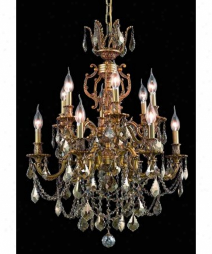 Polished Lighting 9512d24fg-gt-ss Marseille 12 Light Two Tier Chandelier In French Gold With Golden Teak (smoky) Strass Swarovski Crystal