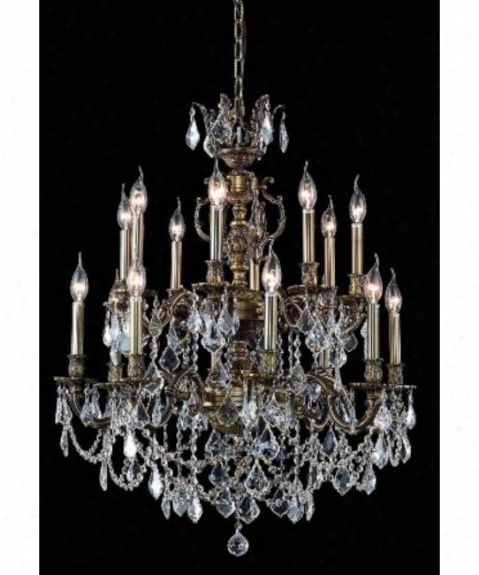 Elegant Lighting 9516d28ab-sa Marseille 16 Window Two Tier Chandelier In Antique Brown Woth (clear) Spectra Swarovski Crystal