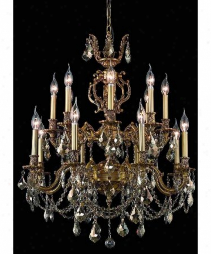 Elegant Lighting 9516d28fg-tt-rc Marseille 16 Light Two Tier Chandelier In French Gold With Golden Teak (smoky) Royal Cut Crystal