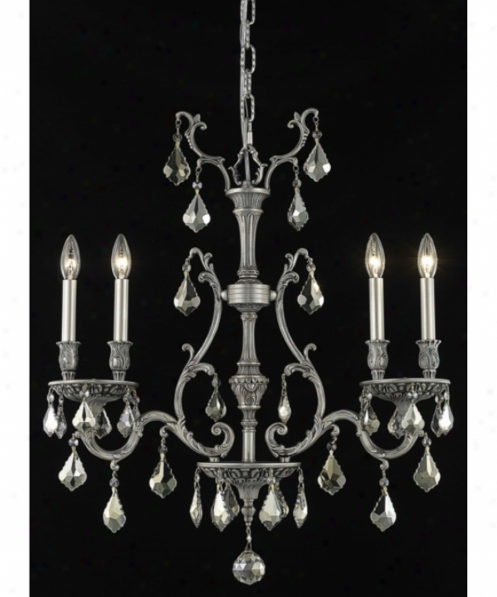 Elegant Lighting 9604d26pw-gt-rc Monarch 4 Light Mini Chandelier In Pewter With Golden Teak (smoky) Royal Cut Crystal