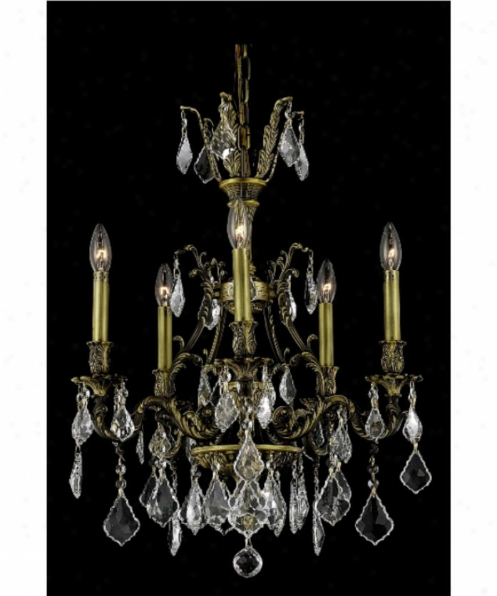 Elegant Lighting 9605d21ab-gs-rc Monarch 5 Light Mib Chandelier In Antique Bronze With Golden Shadow (champagne) Royal Cut Crystal