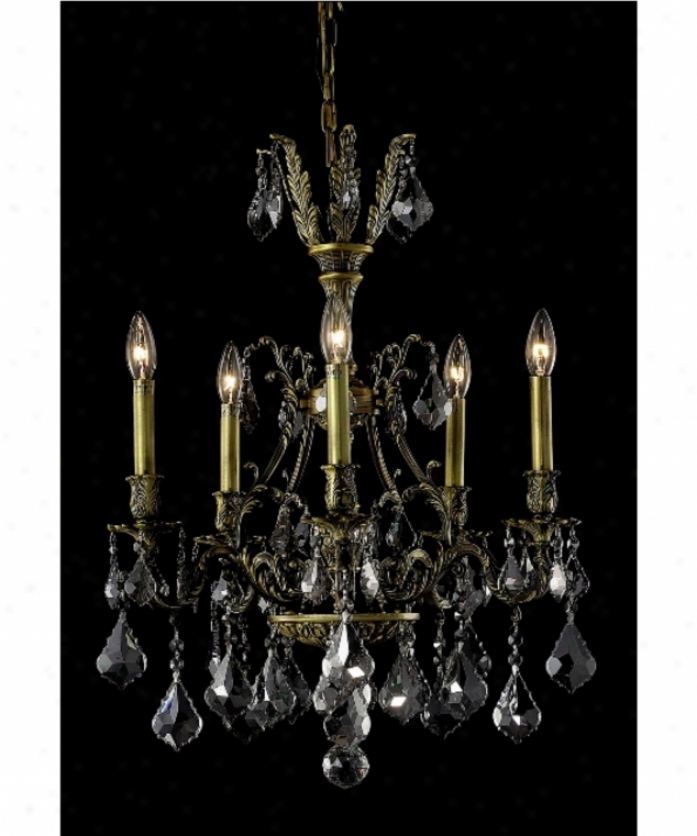 Elegant Lighting 9605d21ab-ss-ss Monarch 5 Light Mini Chandelier In Antique Bronze With Silver Shade (grey) Strass Swarovski Crystal