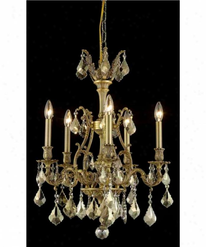 Elegant Lighting 9605d21fg-gt-rc Monarch 5 Light Mini Chandelier In French Gold Wit Golren Teak (smoky) Royal Cut Crystal