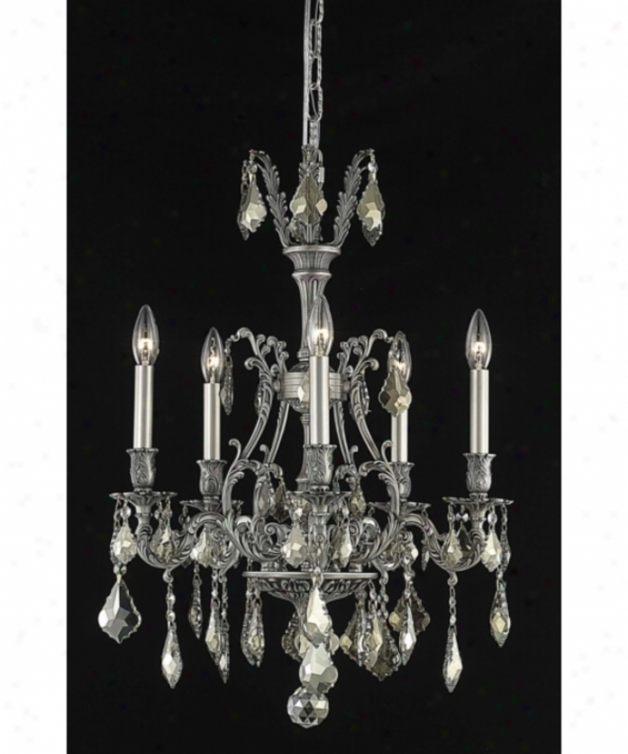 Elegant Lighting 9605d21pw-gt-rc Monarch 5 Kindle Mini Chandelier In Pewter With Golden Teak (smoky) Royal Slight  Crystal