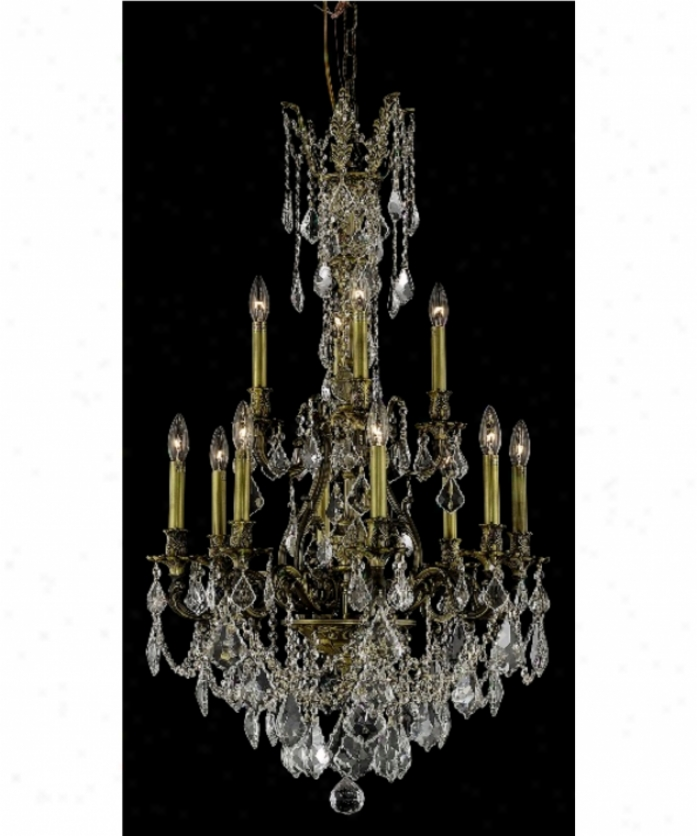 Elegant Lighting 9612d25ab-sa Monarch 12 Light Two Tier Chandelier In Antique Bronze With (clear) Spectra Swarovski Crystal