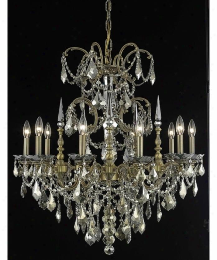 Elegant Lightnig 9710d30fg-gt-rc Athena 10 Light Single Tier Chandelier In French Gold With Golden Teak (smoky) Royal Cut Crystal