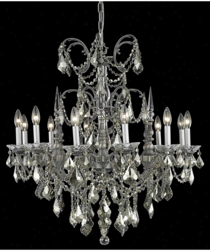 Elegant Lighting 9712d32pw-gt-rc Athena 12 Light Single Tier Chandelier In Pewter With Golden Teak (smoky) Royal Cut Crystal