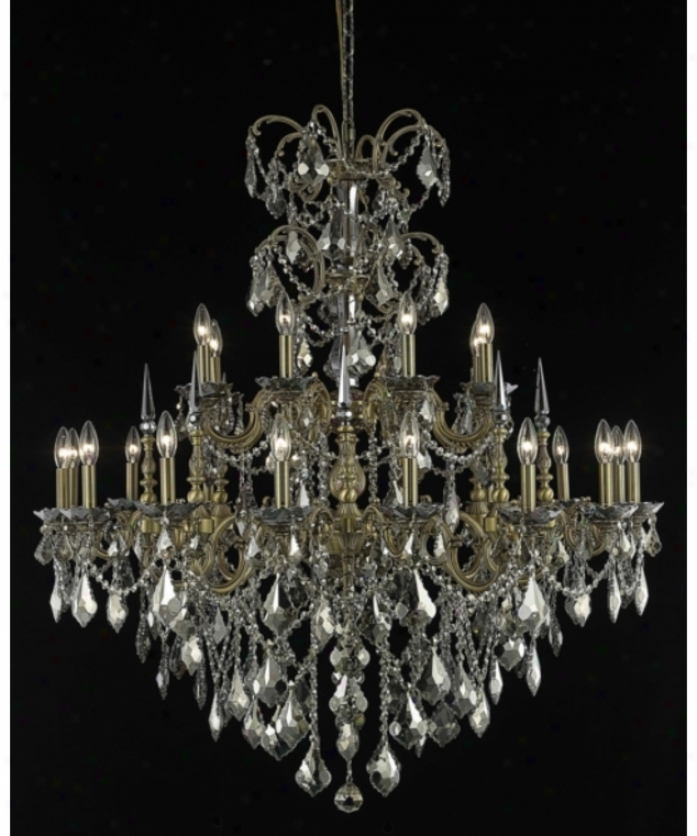 Elegant Lighting 9724g44fg-gt-rc Athenw 24 Light Large Foyer Chandelier In French Gold With Golden Teak (smomy) Royal Cut Crystal