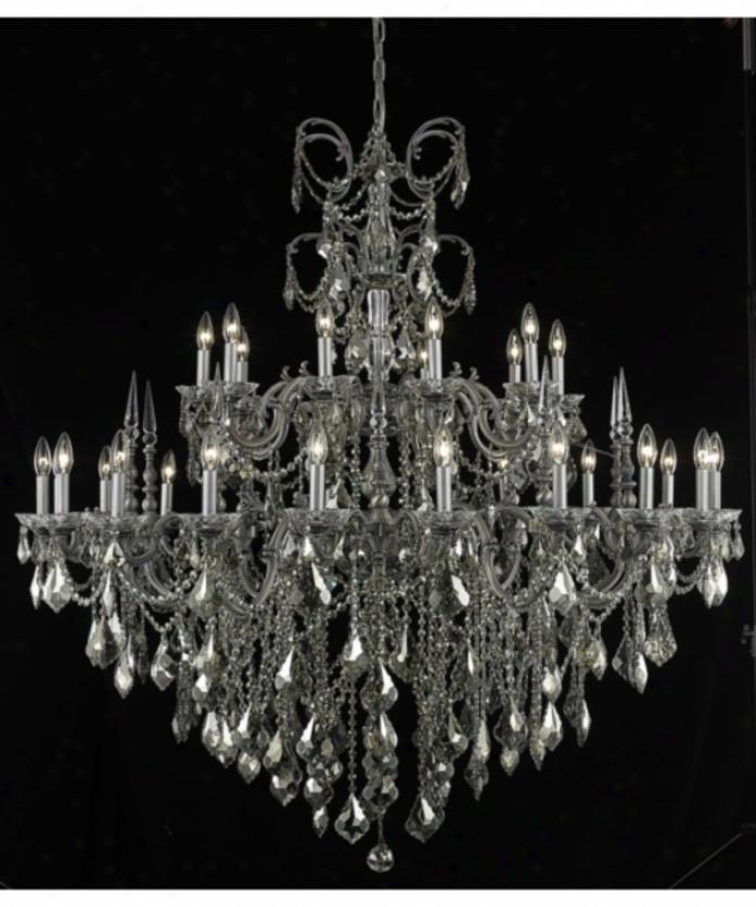 Elegant Lighting 9730g53pw-gt-rc Athena 30 Light Large Foyer Chandelier In Pewter With Golden Teak (smoky) Rpyal Cut Crystal