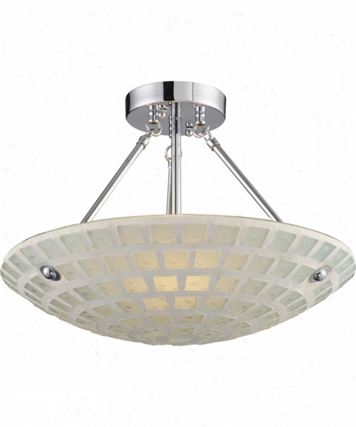 Elk Lighting 1322-3-whm Fused Glass Mosaic 3 Light Semi Flush Mount In Satin Nickel With White Mosaic Glass
