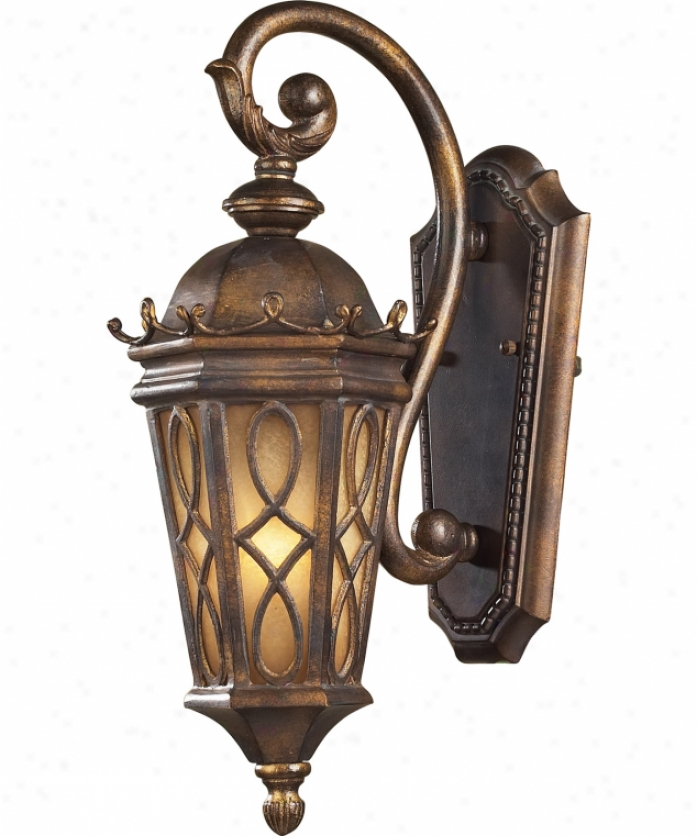 Elk Lighting 42000-1 Burlington Junction 1 Light Outdoor Wall Light In Hazelnut Bronze With Amber Scavo Glass Glass