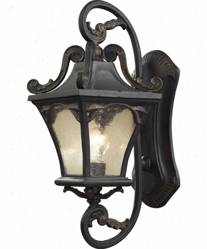 Elk Lighting 42041-1 Hamilton Park 1 Light Exterior Wall Light In Weatherec Charcoal With Seeded Glass Glass
