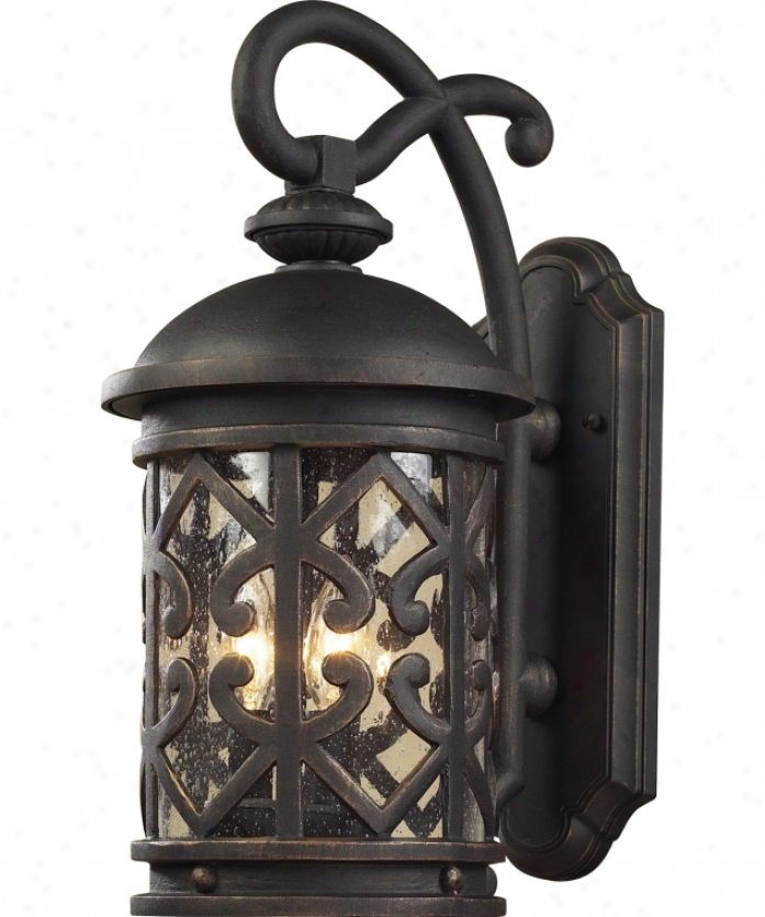 Elk Lighting 42062-3 Tuscany Coast 3 Gossamery Outdoor Wall Light In Weathered Charcoal Through  Seeded Glass Glass