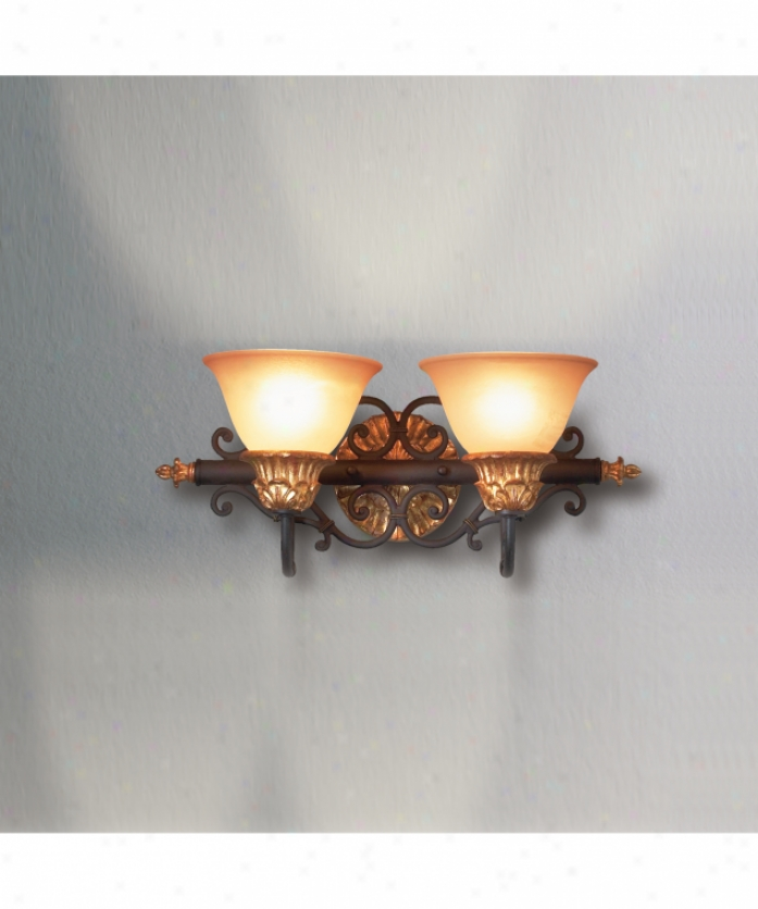 Eurofase Lighting 12145-010 Serif 2 Light Bathh Vanity Light In Burnt Sienna With Antique Gold With Indina Scavo Glass