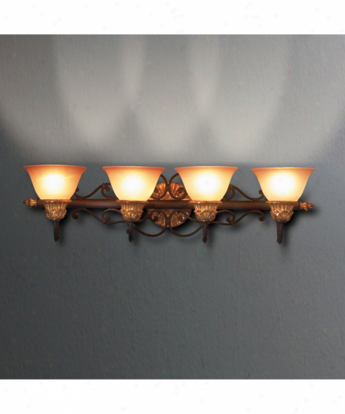 Eurofase Lighting 12147-014 Serif 4 Ljght Bath Vanity Light In Burnt Sienna With Antique Gold Attending Indina Scavo Glass