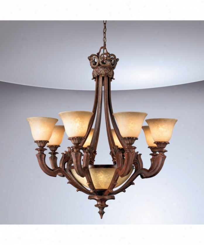 Eurofase Lighting 16536-012 Tiverton 9 Light Single Tier Chandelier In Ancient rarity Rust With Marbled Soft Amber Glass