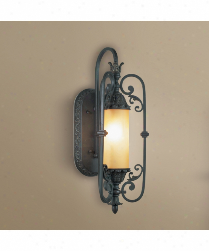 Eurofase Lighting 17383-018 Glenhaven 1 Light Outdoor Wall Light In Antique Iron With Soft Amber Etched Glass