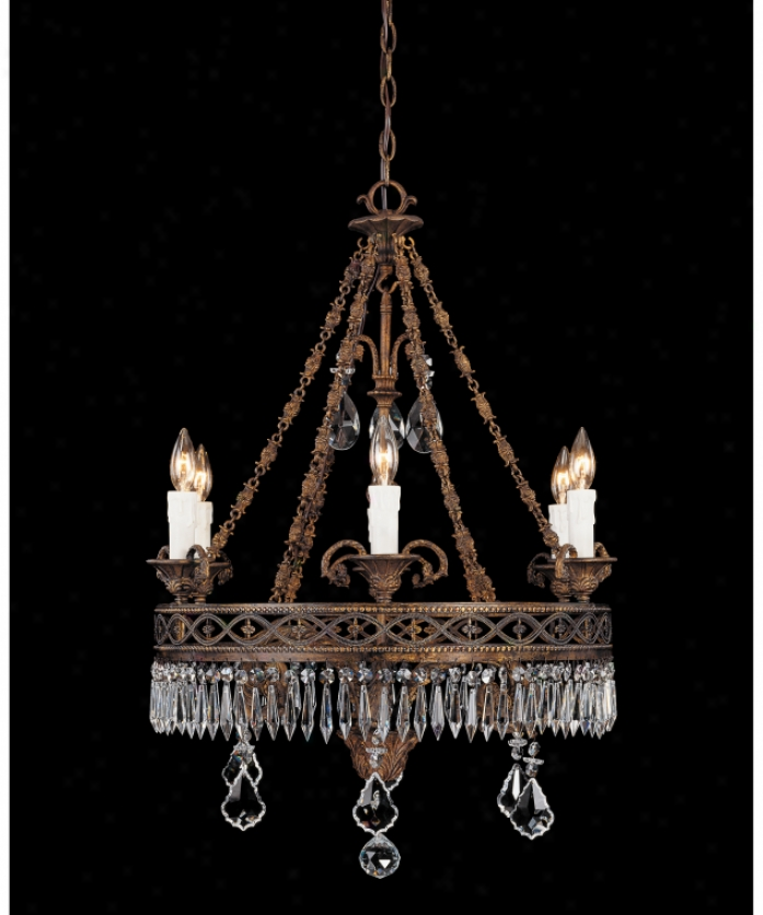 Federico Martinez Collection 2-1803-6-93 Regency 6 Light Single Tier Chandelier In Distressed Antique Bronze Finish Wuth Clear Cut Crystals Crystal