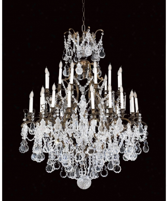 Federico Martinez Collection 2-438-30-175 Versailles 30 Light Large Foyer Chandelier In Oxidized Brass Finish Attending Full Cut Crystal Trimmings Crystal