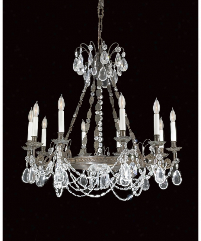 Federico Martinez Collection 2-4415-10-175 Empire 10 Light Single Tier Chandelier In Oxidized Brass Finish With Full Cut Crystal Trimmings Crystal