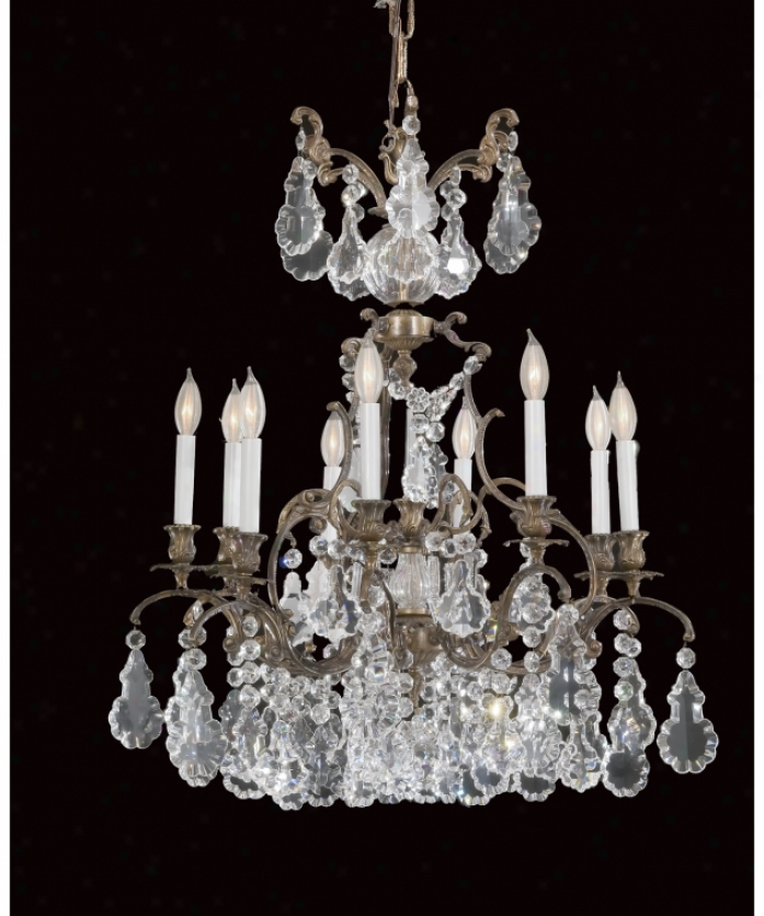Federico Martinez Collection 2-445-9-175 Baroque 9 Light Single Tier Chandelier In Oxidized Bronze Finish With Full Cut Crystal Trimmings Crystal