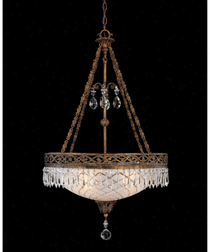 Federico Martinez Collection 7-1807-4-93 Rule 4 Light Ceiling Pendant In Distressed Antique Bronze Finish With Clear Cut Crystals Crystal