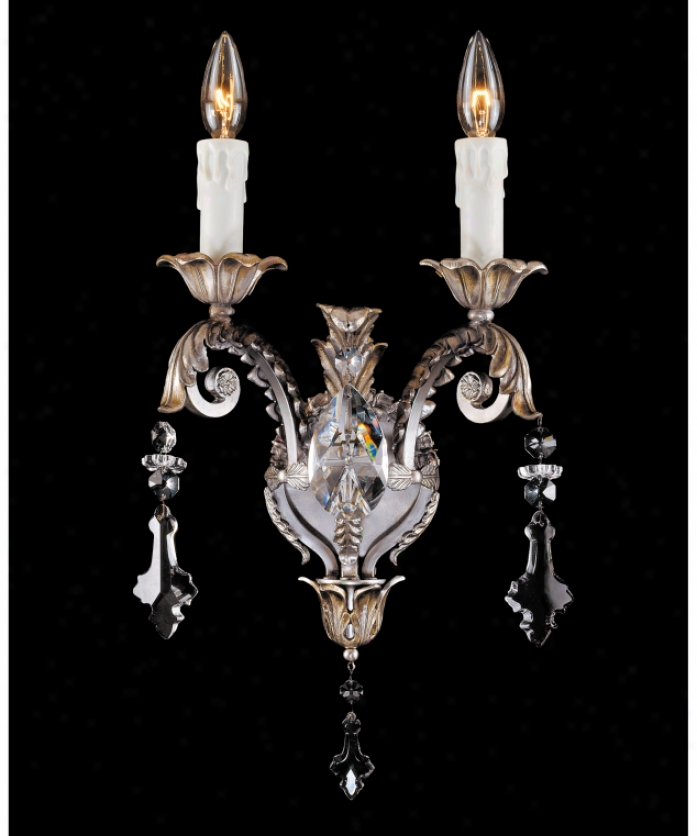 Federico Martinez Collecttion 9-1704-2-141 Louis Xiv 2 Light Wall Sconce In Antique Silver Finish With Etched Glass Glassclear Cut Crystals Crystal