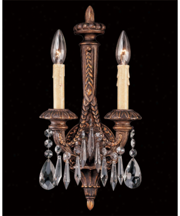 Federico Martinez Collection 9-8815-2-93 Directoire 2 Unencumbered Wall Sconce In Distressed Antique Bronze With Clear Crystal