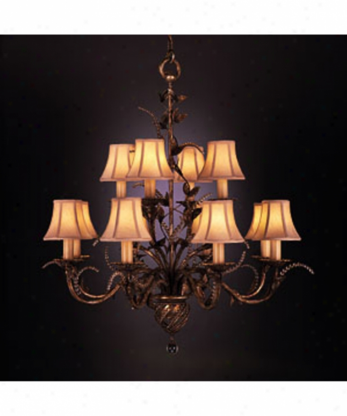 Fine Art Lamps 138540 A Midsummer Nights Dream 12 Light Two Tier Chandelier In Moonlit Patina With Moon-futed Crystals Crystal