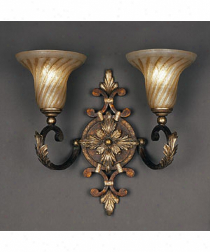 Fine Art Lamps 175350 Stile Bellagio 2 Light Wall Sconce In Crackled Tortoise With Hand-blown Glass Glass