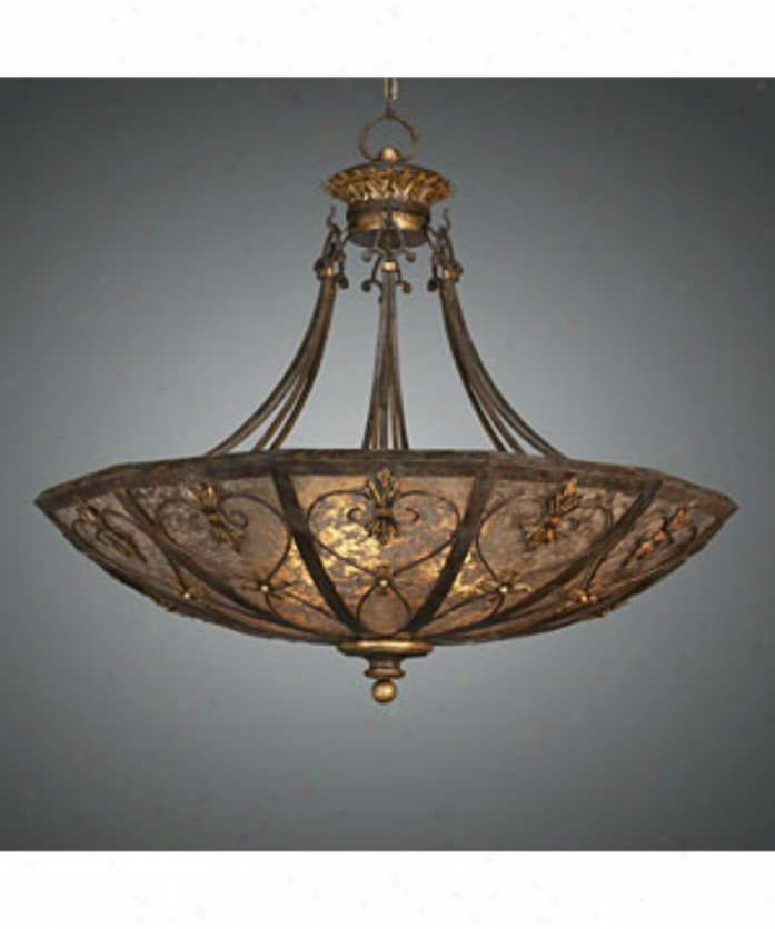 Fine Art Lamps 179942 Villa 1919 3 Light Ceiling Pendant In Warm Rich Umber Through  Hand-fashioned Mica Coupe Glass
