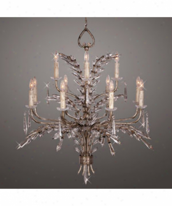 Fine Art Lamps 300840 Winter Palace 12 Light Two Tier Chandelier In Silver Leaf With Icicle Lead Crystals Crystal