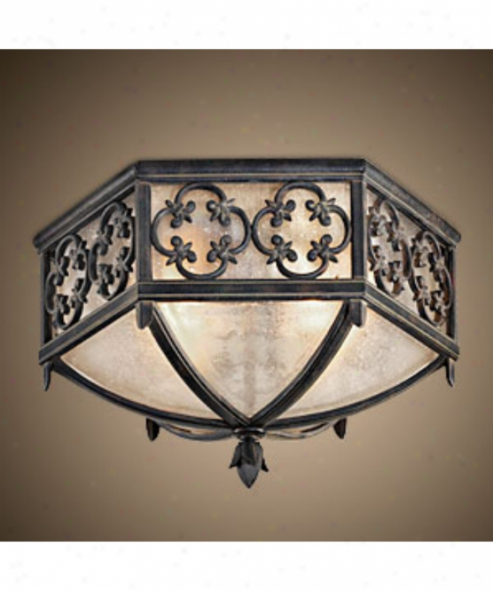 Fine Art Lamps 324882 Costa Del Sol 2 Light Outdoor Flush Mount In Wrught Iron By the side of Subtle Iridescent Texture dGlass Glass