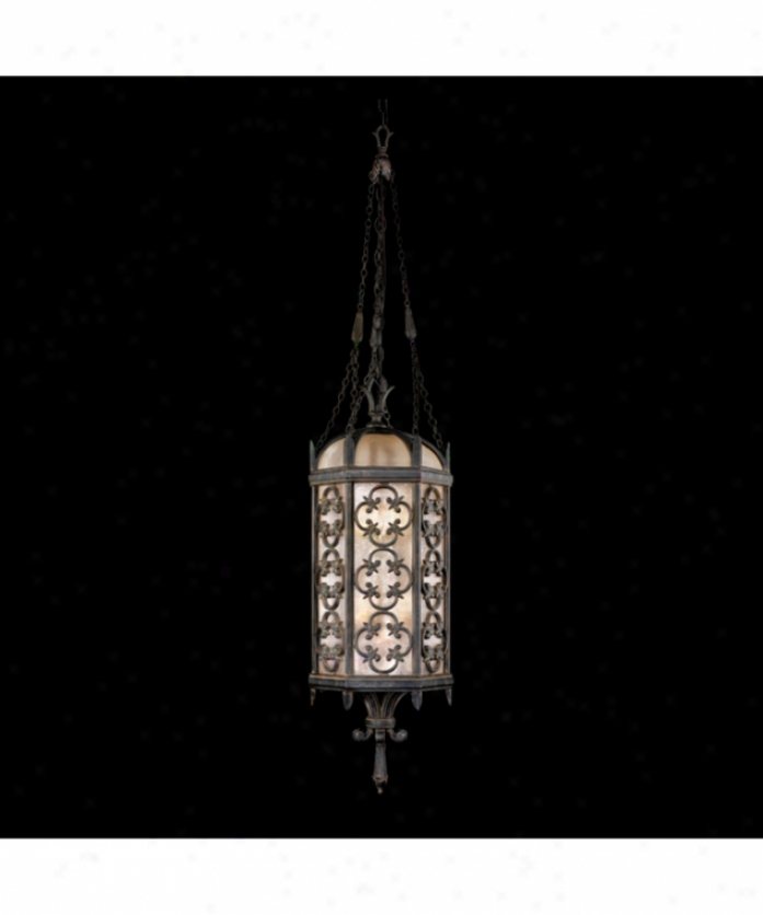 Fine Creation of beauty Lamps 325282 Costa Del Sol 4 Light Outdoor Hanging Lantern In Wrought Iron With Subtle Iridescent Textured Glass Glass