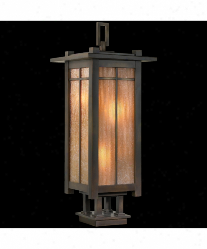 Fine Art Lanps 401883 Capistrano 4 Gay Outdoor Pier Lamp In Warm Bronze Patina With Champagne Linen Glass Glass