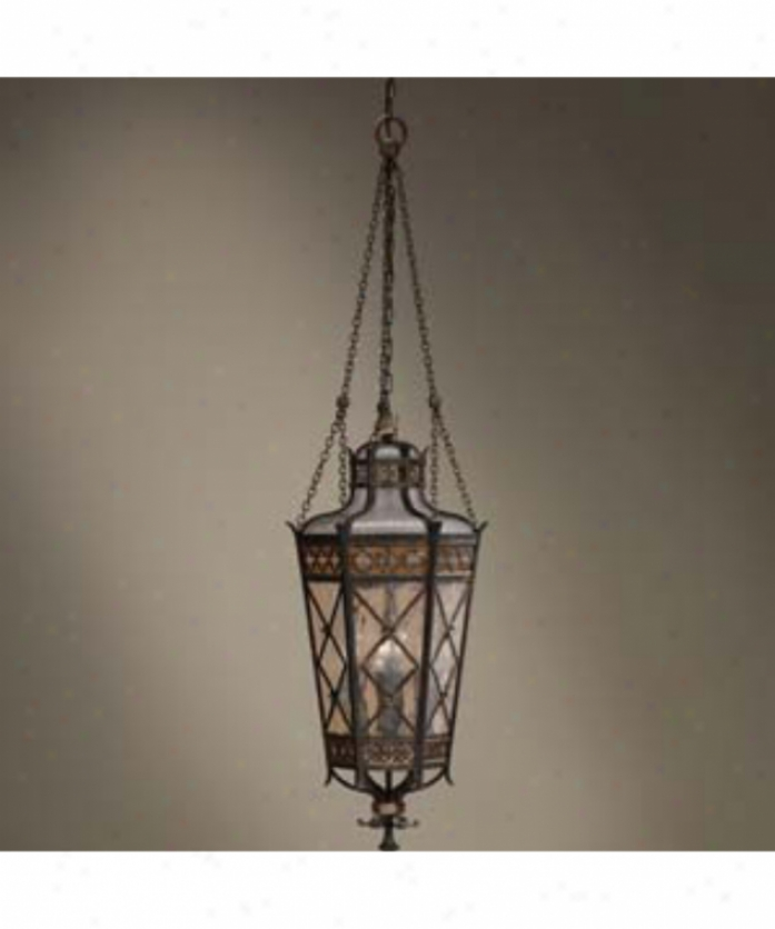 Fine Art Lamps 402582 Chateau Outdoor 4 Light Outdoor Hanging Labtern In Rich Umber With Antiqued Glass Glass