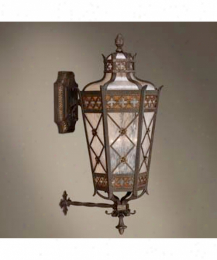 Fine Art Lamps 403681 Chateau Outdoor 4 Illustration Outdoor Wall Light In Rich Umber With Antiqued Glass Glass