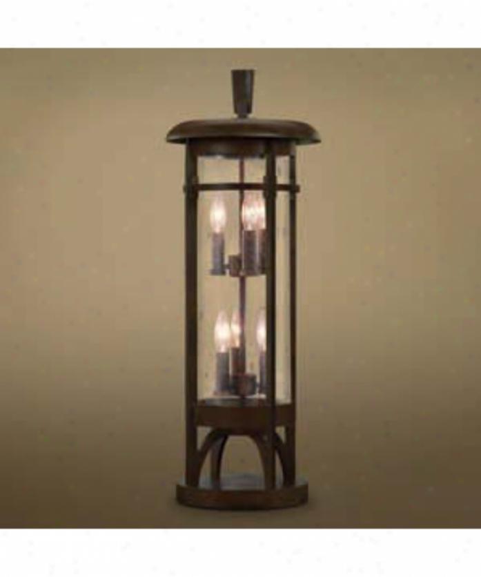 Fine Art Lamps 413283 Aspen 6 Light Outdoor Pier Lamp In Dark Roan Patina With Hand Blown Clear Seedy Glass Glass