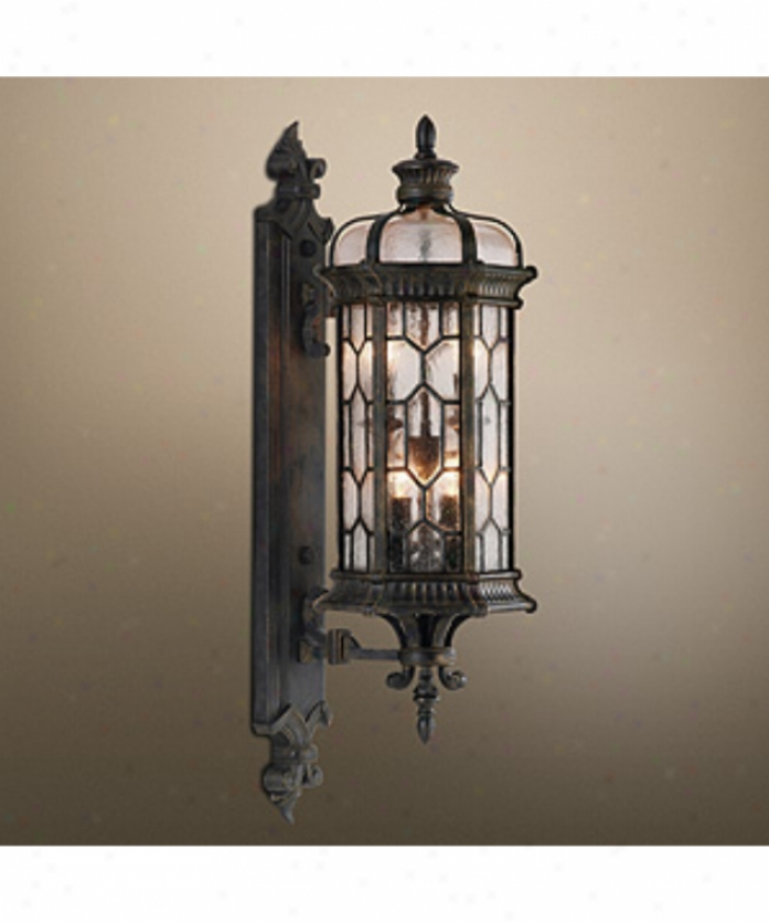 Fine Art Lamps 413881 Devonshire 4 Light Outdoor Wall Light In Forged Bronze With Textured Seedy Glass Panes Glass