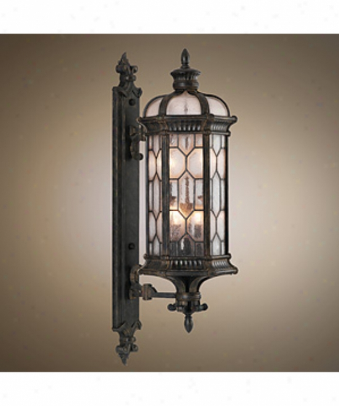 Fine Art Lamps 413981fl Devonsiire Energy Smart 1 Light Outdoor Wall Light In Antiqued Bronze With Textured Seedy Glass Glass