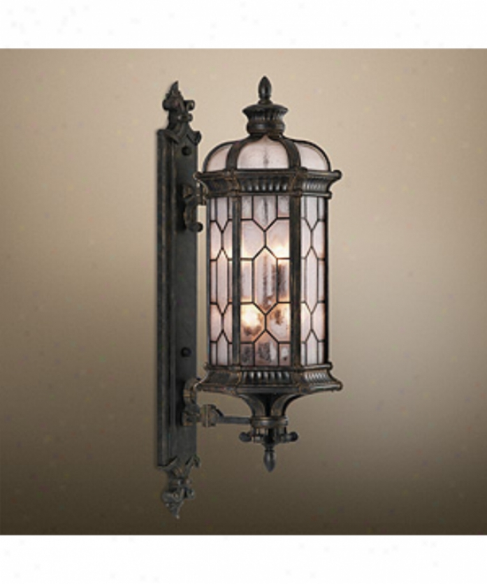 Fine Art Lamps 414081 Devonshire 6 Light Outdoor Wall Light In Forged Bronze With Textured Seedy Glass Panes Glass